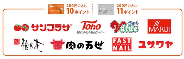 「au WALLET カード」・・・10ポイント、「au WALLET クレジットカード」・・・11ポイント 対象店